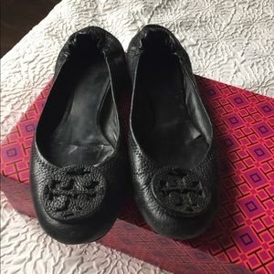 Tory Burch Reva Flats Black Tumbled Leather 9